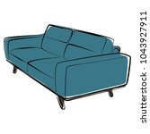 sofa furniture vector isolated... | Shutterstock .eps vector #1043927911