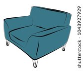 sofa furniture vector isolated... | Shutterstock .eps vector #1043927929