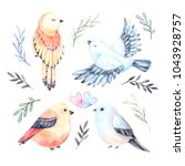 watercolor illustrations. four... | Shutterstock . vector #1043928757
