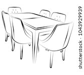 kitchen table and chairs | Shutterstock .eps vector #1043929939
