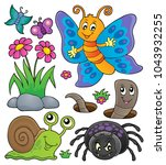spring animals and insect theme ... | Shutterstock .eps vector #1043932255