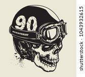 hand drawing of skull wearing... | Shutterstock .eps vector #1043932615