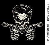 gangster skeleton pointing guns | Shutterstock .eps vector #1043934637
