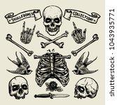 set of skull and bones in hand... | Shutterstock .eps vector #1043935771