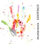 watercolor colorful hand print... | Shutterstock . vector #104393615