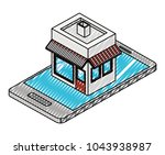 smartphone with store building... | Shutterstock .eps vector #1043938987