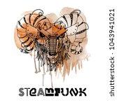 steampunk ram. watercolor... | Shutterstock .eps vector #1043941021