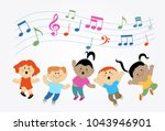 cartoon children jumping and... | Shutterstock .eps vector #1043946901