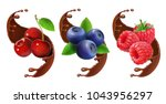 blueberry  cherry and raspberry ... | Shutterstock .eps vector #1043956297