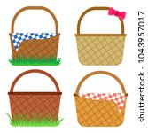 set of empty baskets for easter ... | Shutterstock .eps vector #1043957017
