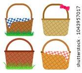 set of empty baskets for easter ...   Shutterstock .eps vector #1043957017