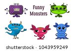 set of funny colorful cartoon...   Shutterstock .eps vector #1043959249