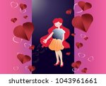 valentine card with  romantic... | Shutterstock .eps vector #1043961661