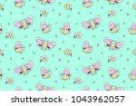 hand drawn cute big butterflies ... | Shutterstock .eps vector #1043962057