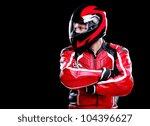 motorcyclist in red equipment... | Shutterstock . vector #104396627