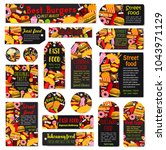 fast food restaurant tags of... | Shutterstock .eps vector #1043971129