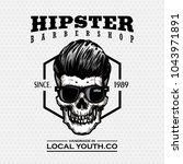 hipster skull barber shop logo... | Shutterstock .eps vector #1043971891