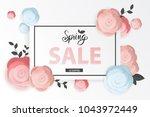 spring flower sale promotion...   Shutterstock .eps vector #1043972449