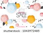 spring flower sale promotion...   Shutterstock .eps vector #1043972485