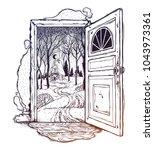 open door into a nature. hand...   Shutterstock .eps vector #1043973361