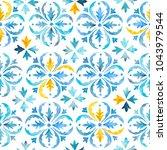 watercolor blue  indigo seamles ... | Shutterstock . vector #1043979544