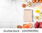 ketogenic low carbs diet... | Shutterstock . vector #1043983981