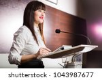pretty  young business woman... | Shutterstock . vector #1043987677