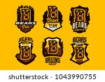 a set of colorful emblems ... | Shutterstock .eps vector #1043990755