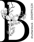 vector hand drawn floral b... | Shutterstock .eps vector #1043991124