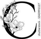 vector hand drawn floral c... | Shutterstock .eps vector #1043991127