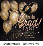 graduation party invitation...   Shutterstock .eps vector #1043991799