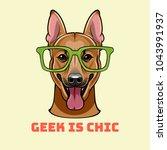 shepherd dog in smart glasses.... | Shutterstock .eps vector #1043991937