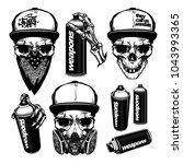 set of skull and spray paint ... | Shutterstock .eps vector #1043993365
