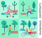people spending their leisure... | Shutterstock .eps vector #1043993671