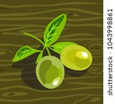 green olives on a branch.... | Shutterstock .eps vector #1043998861