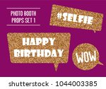golden glitter photo booth... | Shutterstock .eps vector #1044003385