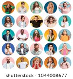 the collage of faces of... | Shutterstock . vector #1044008677