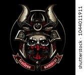 skull wearing classic samurai... | Shutterstock .eps vector #1044011911