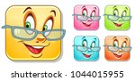 happy smiling emoji face in... | Shutterstock .eps vector #1044015955