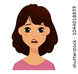 face expression of a cute woman ... | Shutterstock .eps vector #1044018859