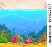 cartoon underwater background.... | Shutterstock .eps vector #1044022507