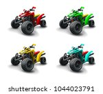 four quad bikes in different... | Shutterstock .eps vector #1044023791