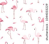 exotic pink flamingos colony... | Shutterstock .eps vector #1044033229
