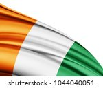 ivory coast  flag of silk with...   Shutterstock . vector #1044040051