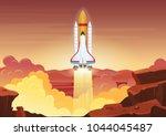 heavy rocket launch. vector... | Shutterstock .eps vector #1044045487