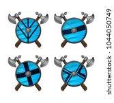 viking shields   vector icons...   Shutterstock .eps vector #1044050749