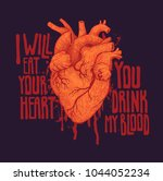 i will eat your heart. you... | Shutterstock .eps vector #1044052234