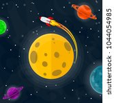 space pattern with planets ... | Shutterstock .eps vector #1044054985