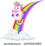 cartoon unicorn sliding on a... | Shutterstock .eps vector #1044065485