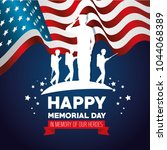 happy memorial day card with... | Shutterstock .eps vector #1044068389